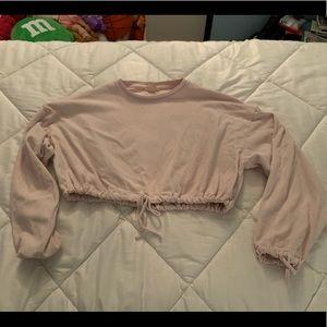 Soft pink cropped sweatshirt H&M Medium
